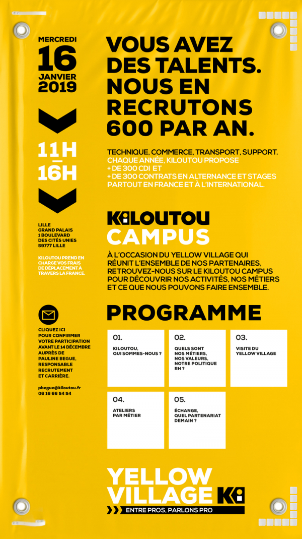 Yellow village KILOUTOU Recrutement